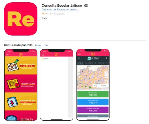 """La aplicación para iPhone se encuentra con el propio nombre """"Consulta Escolar Jalisco"""""""